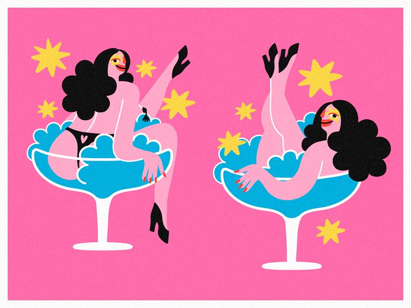la divas 💫 glass pink sexy legs girl digital colors character cabaret burlesque minimal design cartoon illustration vector