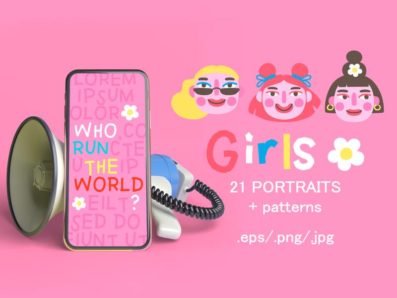 Girls PORTRAITS & patterns set seamless patterns pattern face girl power feminism seamless pattern character girl design cartoon illustration vector