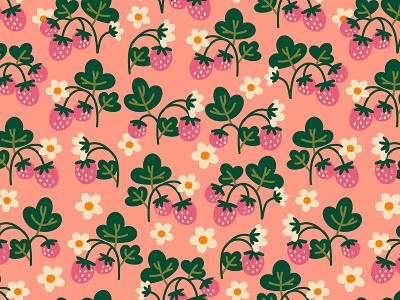 strawberry field retro surface design field strawberry sweet pink seamless pattern pattern summer cartoon illustration vector