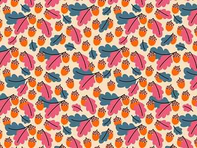 acrons🌰🌰🌰 oak background fall surface design autumn acrons seamless pattern pattern design cartoon illustration vector