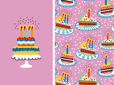 CAKES cute celebration event birthday cake birthday sweet cake seamless pattern pattern design cartoon illustration vector