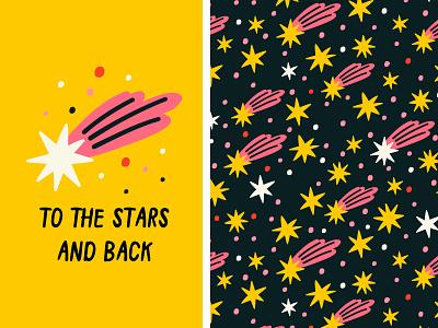 TO THE STARS ⭐ sky night cute simple stars surface pattern printdesign seamless pattern minimal pattern design cartoon illustration vector