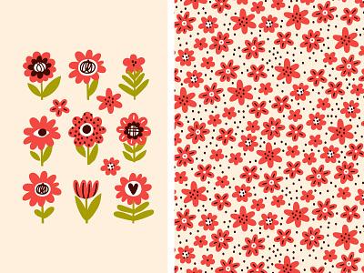 FLO🌼🌼🌼 vector surface summer set seamless pattern minimal illustration design cute collection cartoon blossom bloom