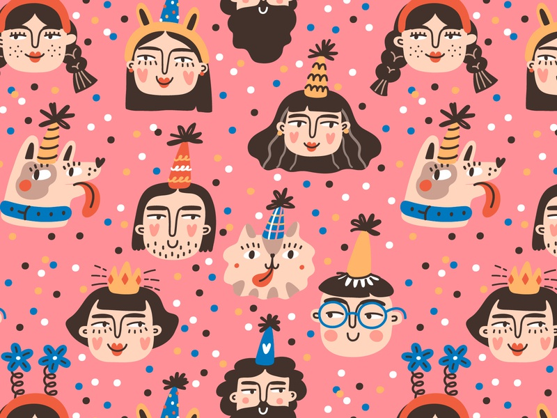 Let's celebrate🎉 cute 2d pink pattern printdesign seamless pattern vector party illustration event design characterdesign character cartoon birthday party birthday anniversary