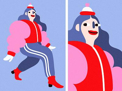 Hello DECEMBRRR❄️❄️❄️ спорт стиль coat cold winter girl minimal character design cartoon illustration