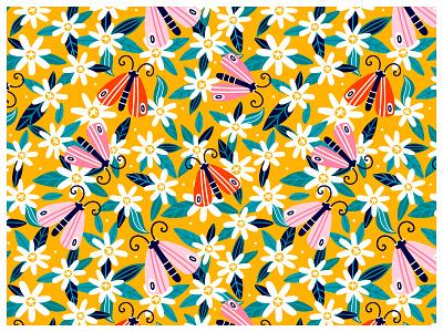 🌼 butterfly vibes summer textiledesigns surfacepattern surfacedesign printdesign patterndesign pattern flowers drawing digitalprint illustration vector