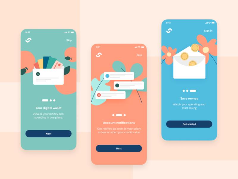 Personal Finance App Onboarding money product modern mobile digital brand minimal flat branding app art interface clean color design onboarding ui finance fintech illustration