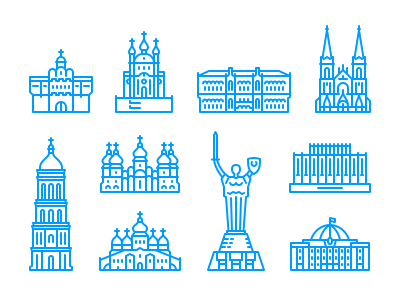 Kyiv icons kyiv city building architecture ukraine line icon minimalism