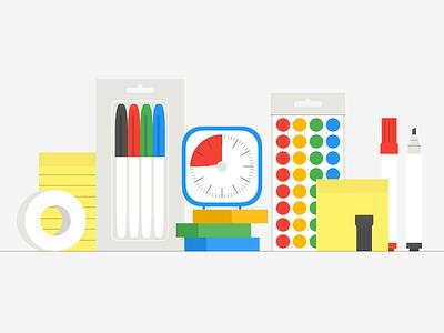 Brainstorming workshops: illustration stationery workshop design sprint tape highlighter marker pen timer sticky notes design illustration icon