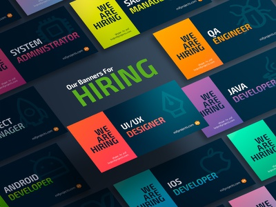 Banner series for the hiring ads figma linkedin facebook illustration gradient mockup vector identity branding social media job hiring ads banner design