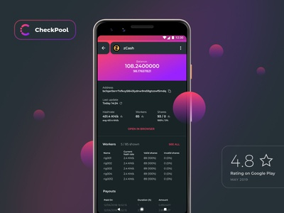 CheckPool - Cryptocurrency mining pool monitor design