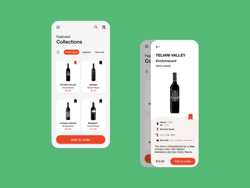 Design for an online wine shop
