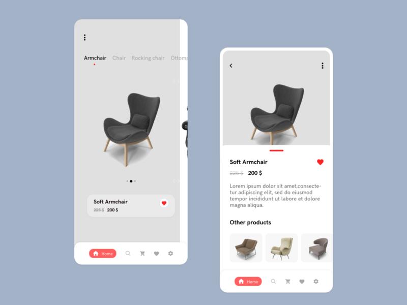 Upholstered furniture online store ui design ui ux designer shopping online store adobe xd uiux ui app ux uidesign design