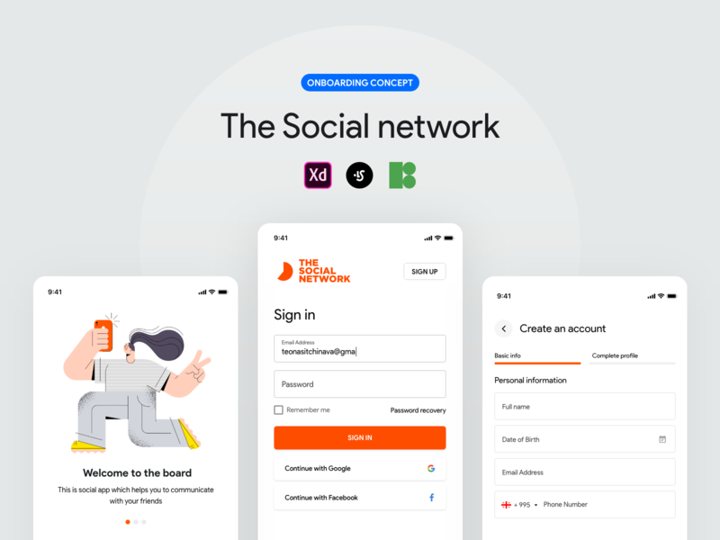The social network - Onboarding concept