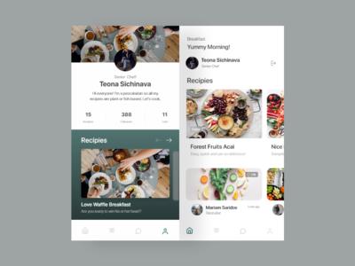 Chef App profile recipe food app app animation uidesign design ux app web ui