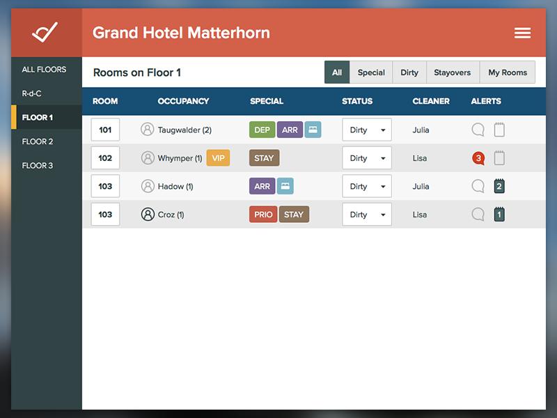WIP hotel app - housekeeping module hotel hospitality table proxima nova flat