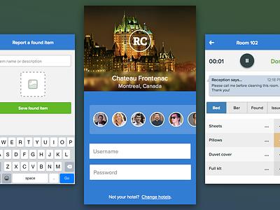 Hotel management screens – visual login hotel login room