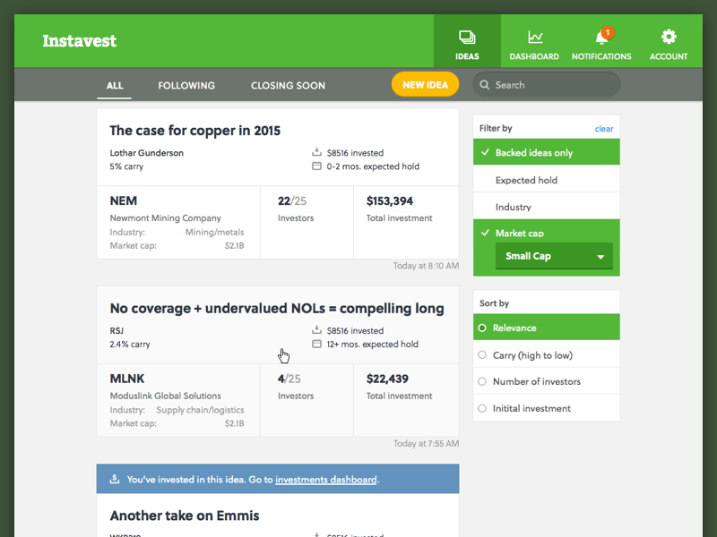 Social stock picking soleil stock finance feed ui web green