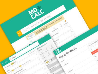 MDCalc home facit web app responsive web design rwd medical