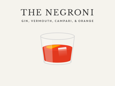 The Negroni - as featured in Learn UI Design illustration cocktail negroni