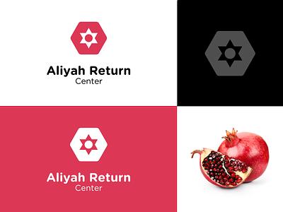 Aliyah Return Center branding star of david pomegranate logo