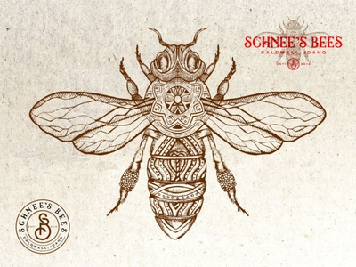 Schnees Bees ornate victorian bee vintage design branding etching vector hand drawn logo design old school illustration