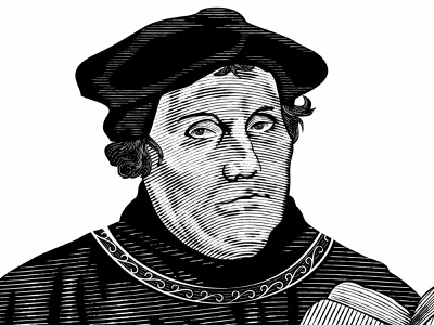 Martin Luther teology martin luther woodcut scratchboard etching vector hand drawn vintage old school illustration