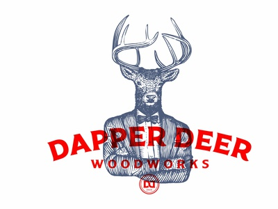 Dapper Deer deer monogram branding vector etching scratchboard old school hand drawn illustration logo design vintage