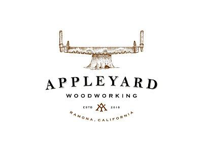 Appleyard trunk scratchboard timber saw old school vintage wood