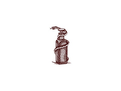 Elixir 2 logo elixir bottle snake potion hand drawn old school illustration vintage
