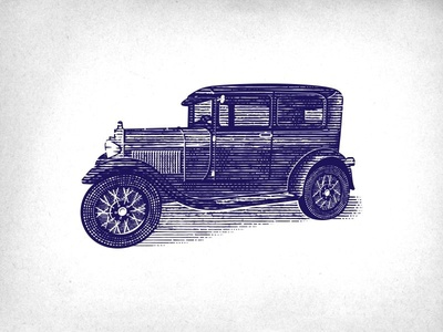 Ford Model A vector 1930 1900`s vector art illustration illustrator old car classic car ford etching scratchboard woodcut hand drawn vintage old school