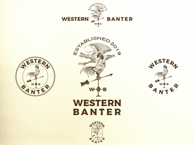 Western Banter line art engraved engrave clouds western arrow weather vane rooster scratchboard vector art etching vector emblem old school label emblem design hand drawn vintage logo design illustration