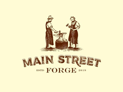 Main Street Forge custom lettering branding scratchboard character craftsmen forged woodcut engraved etching vector blacksmith anvil hammers craftmanship forge logo design hand drawn typography old school illustration