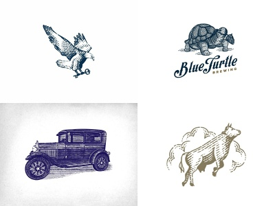 top 4 shots 2018 top shots 2018 dribbble scratchboard ford old car turtle eagle cow logo design woodcut etching engraving design vector identity branding old school hand drawn vintage illustration