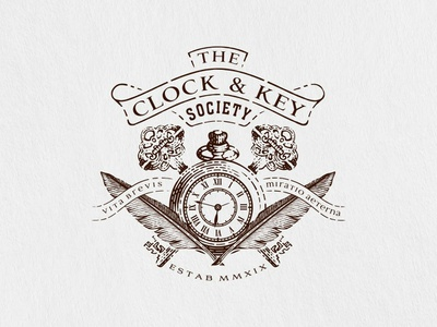 The Clock And Key Society vector vintage society feather pen wood cut scratchboard engrave etching line art clock pocket watch key art branding emblem design hand drawn old school illustration