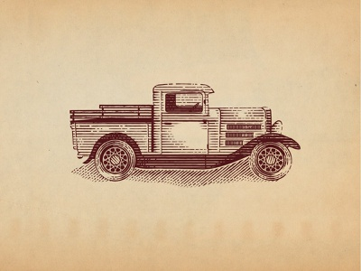 1934 Ford Truck branding design car etching woodcuts engraving ford truck scratchboard vector hand drawn vintage old school illustration