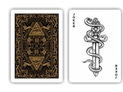 KB playing cards ornate joker intricate victorian monogram snake woodcut scratchboard etching vintage design vector old school playing cards hand drawn illustration