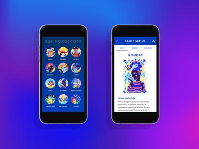 R29 Horoscopes Comps user interface mobile app