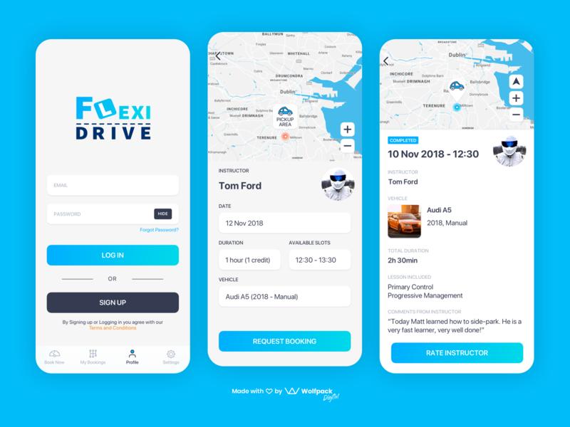 FlexiDrive - Educational Driving App flat mobile app design app ux ui mobile app