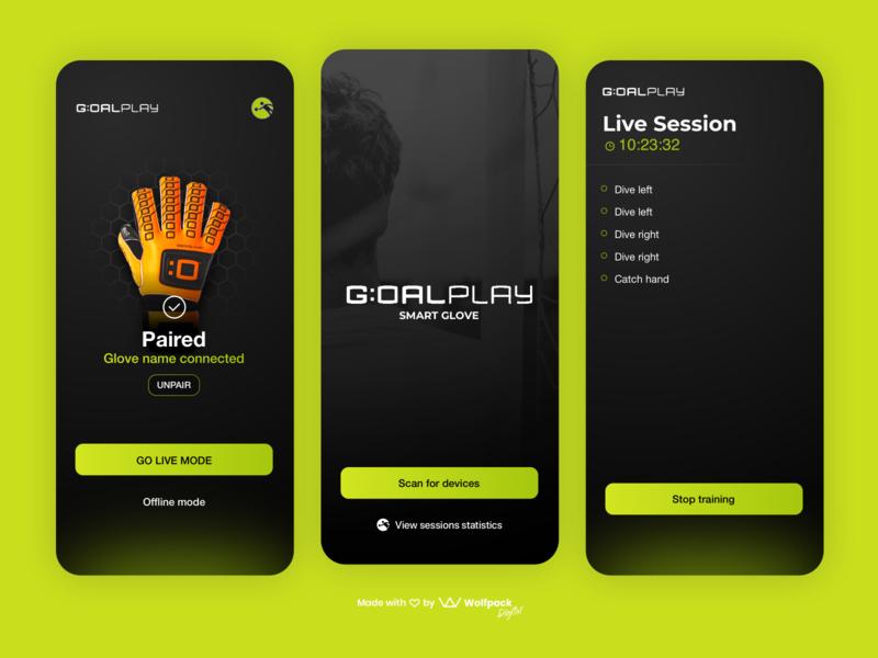 GoalPlay - IoT App for Goalkeepers mobile ux soccer app sports app football app mobile app dark ui iot