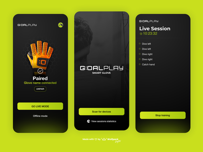 GoalPlay - IoT App for Goalkeepers mobile ux soccer app sports app football app mobile app dark ui iot