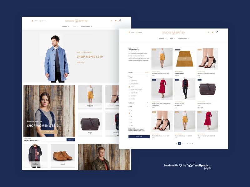 Studio British - Fashion App Design ui design ux design ecommerce app clothing web ui ux fashion app web design