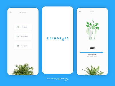 Raindrops - IoT & GreenTech App mobile ui flat mobile app minimalist greentech iot