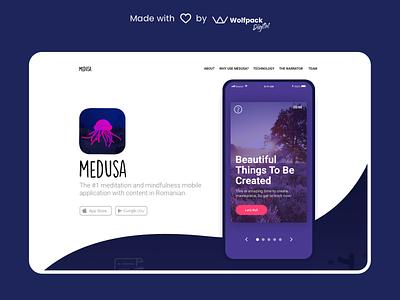Medusa - Meditation & Mindfulness App landingpage mobile ux mobile app healthtech mental health mindfulness