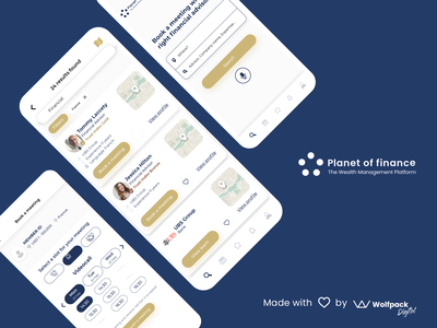 Planet of Finance - Wealth Management Web & Mobile App flat uxui mobile app design mobile ux mobile app fintech branding wealth management fintech app