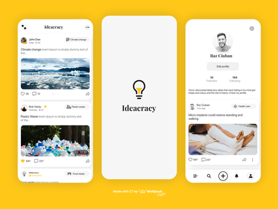 Ideacracy - a new (and better) social media platform minimalism blackandwhite socialmedia mobile app design mobile app