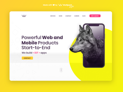 Wolfpack Digital Website Re-design - Creative Session No.4 neon wolf agency landing page minimalist flat agency website landing page
