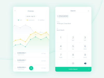 Finances and Deposit Screen graph minimal mobile ios iphone interface ux ui animation app finance dashboard