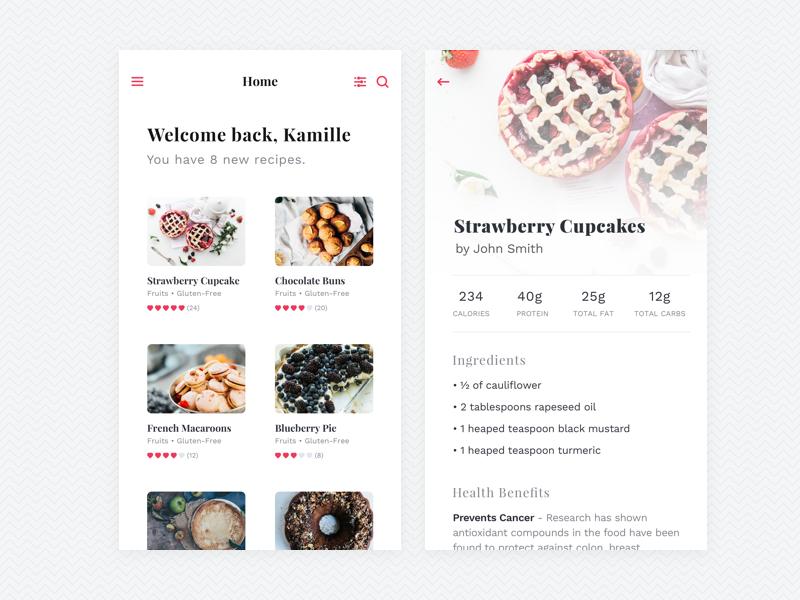 Food Recipes App clean simple typography ux ui iphone ios ingredients recipes food