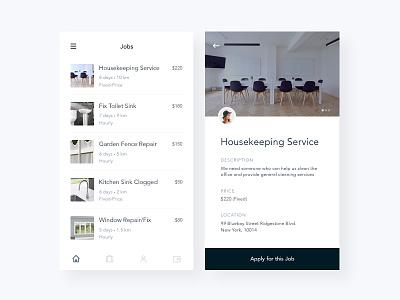 Job Listings Mobile App typography black sleek simple clean iphone ios mobile app app work job listing jobs